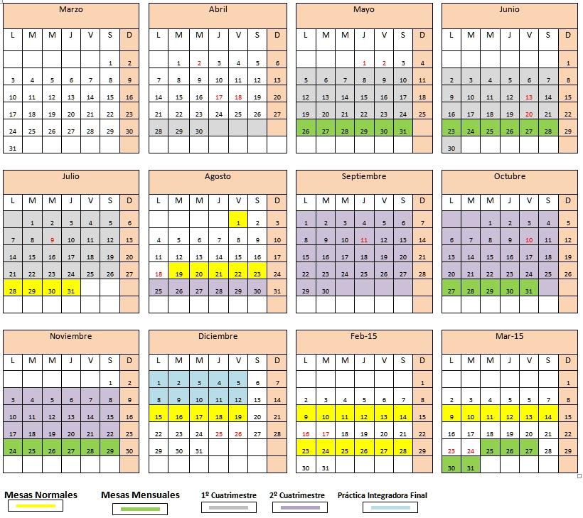 Calendarios Anuales 2015 Enfermería: Calendarios académicos